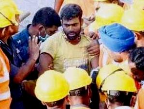 Odia worker Prakash Rout  after his rescue