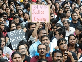 File pic of protest in Bangalore over sexual assault on 6-year old girl student