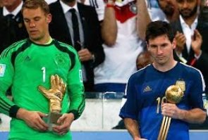 Rodriguez & Messi (R) with their trophies