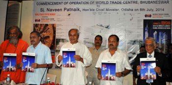 Chief Minister Shri Naveen Patnaik releasing the brochure of World Trade Centre, Bhubaneswar on 8-7-2014