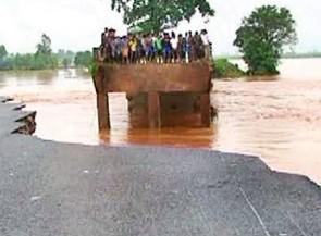 Rain flash flood bridge washed away nabrangpur road