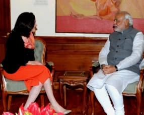 The COO Facebook, Ms. Sheryl Sandberg calling on the Prime Minister, Shri Narendra Modi, in New Delhi on July 03, 2014.