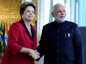 The Prime Minister, Shri Narendra Modi meets the President of Brazil, Ms. Dilma Rousseff, on the margins of the Sixth BRICS Summit, in Brasilia, Brazil on July 16, 2014.