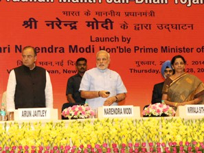 PM Modi launching Jan Dhan Yojana ( PIB pic)