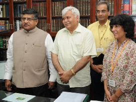 The Union Minister for Communications & Information Technology and Law & Justice, Shri Ravi Shankar Prasad at the launch of the E-Greetings Portal of National Informatics Centre, in New Delhi on August 14, 2014.