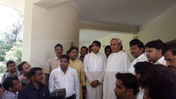 BJD supremo Naveen Patnaik with the newly inducted student leaders at Naveen Nivas