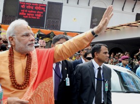 PM Modi waving to people at Pashupatinath Temple, in Kathmandu (PIB pic)