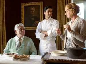 Om Puri with Helen Mirren in The Hundred-Foot Journey