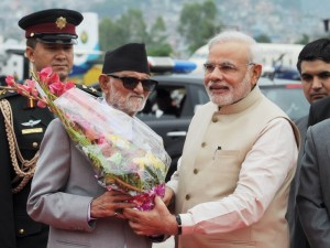 PM Modi being received by Nepalese PM Sushil Koirala at Kathmandu airport (PIB)