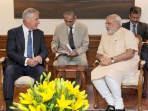 US Defence Secretary, Chuck Hagel calls on PM Modi (PIB)