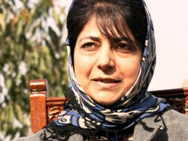 PDP President Mehbooba Mufti addressing media persons in Srinagar on Friday.KT Photo:Qazi Irshad