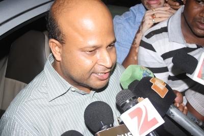Dharmasala MLA Pranab Balabantaray coming of the CBI office after his grilling late on Wednesday night (Pic; Biswaranjan Mishra)
