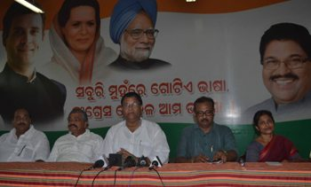 PCC president Jayadev Jena addressing a press conference at Congress Bhavan on Friday (Pic: Biswaranjan Mishra)