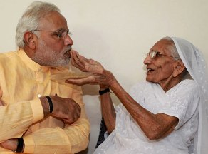 Modi with his mother ( file pic-source Indian Express)