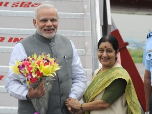 PM Modi greeted by Sushma-Swaraj on his arrival (PIB)