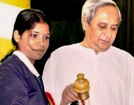 Pratima Puhan being conferred with the Biju Patnaik Award for the Best Sportswoman for the year 2010 by Chief Minister Naveen Patnaik on August 29
