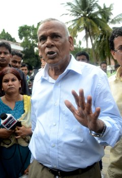 Former Advocate General Ashok Mohanty at the CBI office in Bhubaneswar on Saturday (Pic: Biswaranjan Mishra)