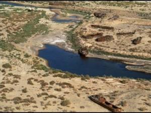 The dried up Aral Sea  ( source- columbia.edu)