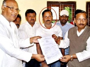 Ranjan Dash ( in red circle) with Kalpataru Das and Pravat Tripathy with Naveen Patnaik's nomination papers