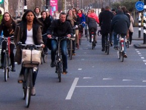 Cyclists on a busy road in Amsterdam