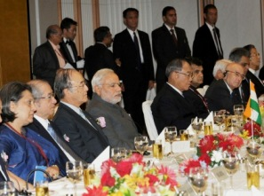 PM Modi at the luncheon meeting of business leaders, in Tokyo (PIB pic)