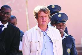 Mathieu Nicolas Furic, the fugitive French paedophile, being produced in the Windhoek magistrate court in Namibia (Photo Courtesy: namibian.com.na)