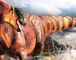 Illustration -Rhinorex condrupus or King Nose dinosaur