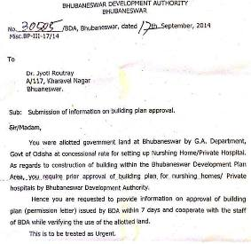 The notice issued by BDA to Dr. Jyoti Routray, Revenue Minister Bijayshree Routray's wife