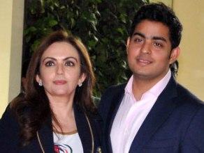 Akash with mother Neeta Ambani