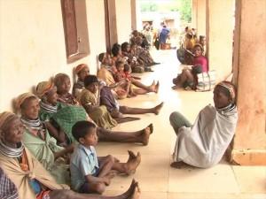 Bonda tribal people at a shelter centre in Malkangiri distrct