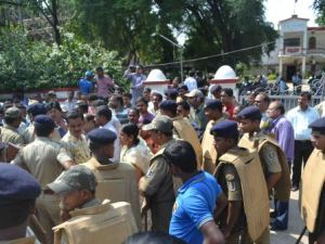 Angry protesters outside Sundargarh Collectorate