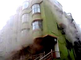 Ssmoke billowing out of the Green Ray headquarters at Jaleswar on Sunday morning