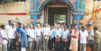 Members of the Technical Committee and other temple officials at the Gundicha temple in Puri on Saturday