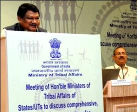 The Union Minister for Tribal Affairs, Shri Jual Oram addressing at the meeting of Ministers of Tribal welfare of State/UTs, in New Delhi on October 28, 2014. The Minister of State for Tribal Affairs, Shri Mansukhbhai Dhanjibhai Vasava is also seen.