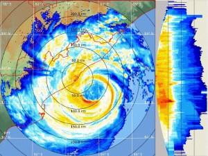 Hudhud as captured by the Doppler Radar at Vishakhapatanam this morning