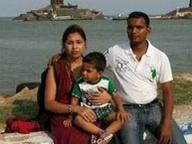 Sunil Kumar Sahu with wife and son