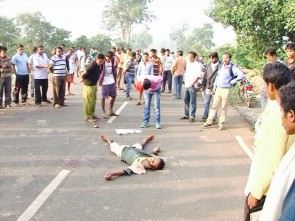 Bullet-ridden body of Bheema  lying on road