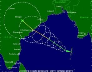 Tracking Hudhud path ( source- tropicalstormrisk)