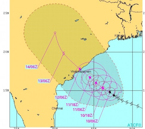 Hudhud path ( source- Joint Typhoon Warning Centre, US)