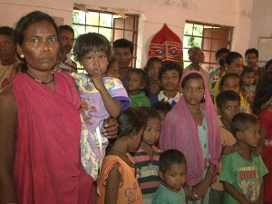 Evacuated women and children at a safe shelter in Malkangiri district