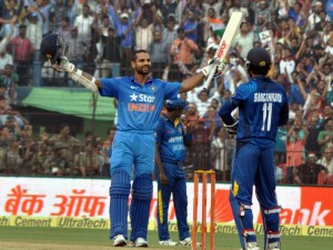 Shikhar Dhawan celebrating his ton (pic- Biswaranjan Mishra)