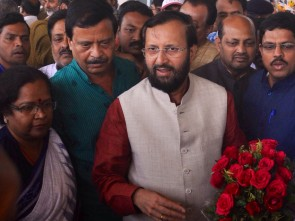 Javadekar being received by state BJP leaders (Pic-Biswaranjan Mishra)
