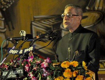 President Pranab Mukherjee addressing the Golden Jubilee celebrations of Utkal Sangeet Mahavidyalay in Bhubanesar on Saturday evening (Pic: Biswaranjan Mishra)