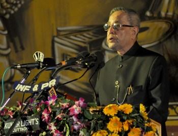 President Pranab Mukherjee addressing the Golden Jubilee celebrations of Utkal Sangeet Mahavidyalay in Bhubanesar on Saturday evening (Pic: Biswaranjan Mishra)