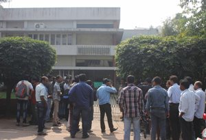 The crowd outside Pyari Mohan Mohapatra's residence in Shahid Nagar during the CBI raid today (Pic: Biswaranjan Mishra)