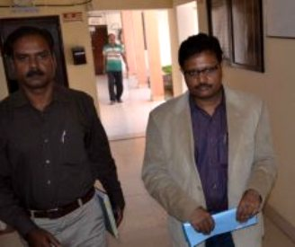 DIG Rajesh Kumar (right) coming out after his three-hour long interrogation by the CBI on Sunday (Pic: Biswaranjan Mishra)
