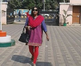 Seashore training director Tanuja Mohanty reaching the CBI office for questioning on Wednesday afternoon (Pic: Biswaranjan Mishra)
