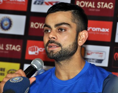 India team captain Virat kohli address Press meet at barabati stadium cuttack on Saturday, One day international series between India and Srilanka on November 2