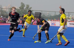 A moment from the Belgium-Pakistan match in the Champions Tropthy which the former won (Pic: Biswaranjan Mishra)