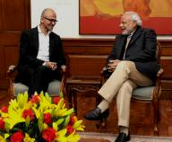 Microsoft CEO Satya Nadella and Prime Minister Narendra Modi in a meeting in New Delhi.